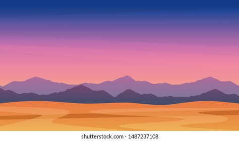 Beautiful landscape illustration of twilight mountains, free EPS vector art. Scenic panorama of mountains at dusk