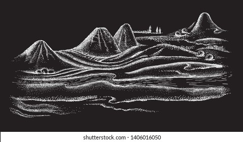 Beautiful landscape in Japanese style art. Pointillism graphic illustration. Vector graphics black and white engravings.