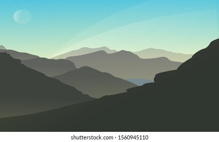 Beautiful landscape Morning Mountain , misty fog on mountain slopes. Abstract gradient background, vector illustration.