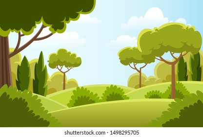 Beautiful  landscape nature with trendy design for landing page template, drawing book cover, wallpaper, desktop backgrund and your concept. modern flat illustration vector.