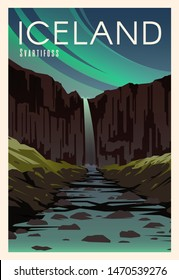 Beautiful landscape in night in Iceland with mountains, waterfall Svartifoss, river. Time to travel. Around the world. Quality vector poster. National park Skaftafell.