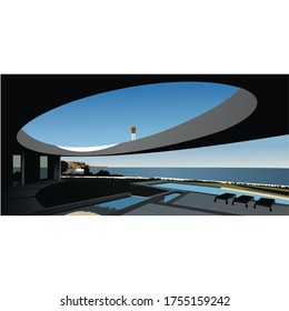 Beautiful Landscape Open Roof Infrastructure Illustration Design