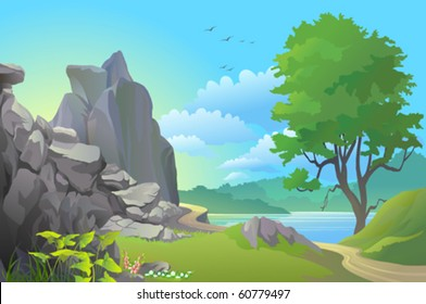 BEAUTIFUL LANDSCAPE OF PATHWAY BY ROCKY HILLS AND A LAKE
