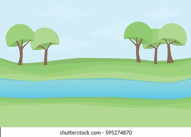 Beautiful landscape picture river bank and trees, locations, vector illustration