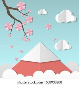 Beautiful landscape with sakura branch and flowers, clouds and mountain. Paper art style. Projects template for business. Vector art and illustration.