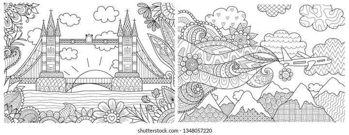 Beautiful landscape in spring and summertime collection for adult coloring book, coloring page, background, card and other design element. Vector illustration