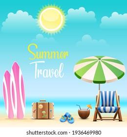 Beautiful landscape, summer holidays. Vector design.
