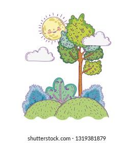 beautiful landscape with sun kawaii and trees