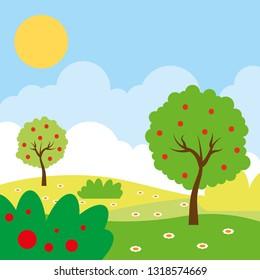 beautiful landscape sunny day cartoon scenery vector digital illustration image