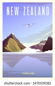 Beautiful landscape in sunny day in New  Zealand with mountains, Milford Sound, sea and airplane. Time to travel. Around the world. Quality vector poster. National park Fiordland.