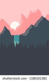 Beautiful landscape with sunset, waterfall, and forest on the background of mountains. Flat design. Vector illustration. Eps 10.