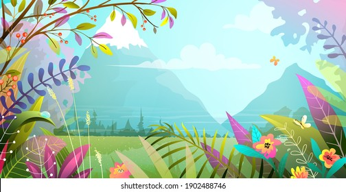 Beautiful landscape with trees flowers grass and mountains in the background. Nature magical heavenly scenery, modern illustration in watercolor style. Nature and woods vector background.