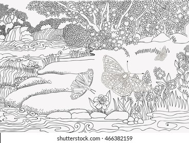 beautiful landscape waterfall butterflies coloring 260nw