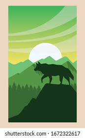 beautiful landscape with wolf scene vector illustration design
