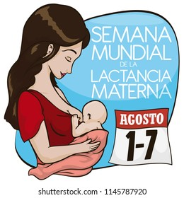 Beautiful latin mother with baby promoting breastfeeding in August with reminder loose-leaf calendar: date for World Breastfeeding Week (written in Spanish).