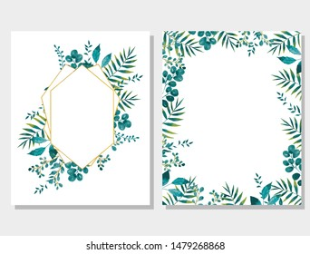 beautiful leaves illustration wreath with green flowers and leaves for wedding stationary. greetings and backgrounds