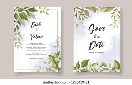 Beautiful leaves wedding invitation card template