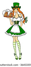 Beautiful leprechaun girl in green with  beer. Saint Patrick's Day. Vector illustration