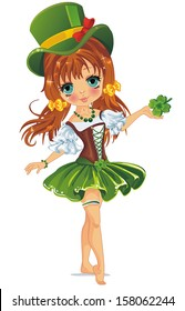 Beautiful leprechaun girl in green. Illustration of a Girl Holding a clover