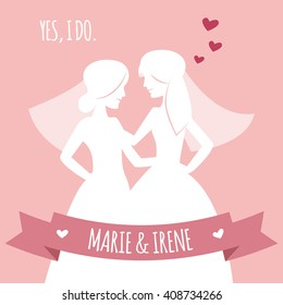 Beautiful lesbian couple in white wedding dresses. Same-sex family. Gay marriage. Two brides on isolated background. Vector art. White slhouettes. For wedding invitation, Save the Date cards etc.