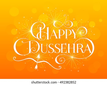 Beautiful lettering calligraphic inscription Happy Dussehra festival Indian fireworks fire white text with a shadow. Calligraphy on orange bokeh blur background. Vector illustration EPS 10