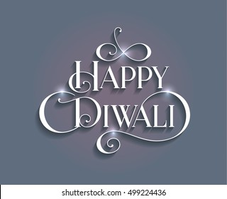 Beautiful lettering calligraphy white text with a shadow. Calligraphy inscription Happy Diwali festival India design invitation blue background. Vector illustration EPS 10