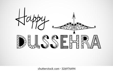 Beautiful lettering of hindu mythological Goddess Durga in zentangle style decorative ornament Mehndi for Happy Dussehra celebrations vector eps 10
