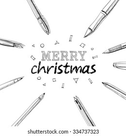 Beautiful letters. Merry Christmas in frame of pens.Hand drawn Vector illustration