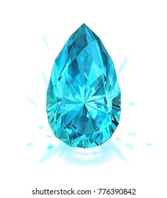 Beautiful light blue gem sapphire isolated on white background. Vector illustration.
