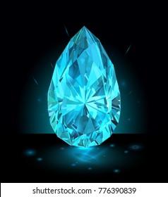 Beautiful light blue gemstone sapphire on a dark blue background. Vector illustration.