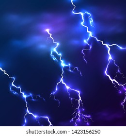 Beautiful Lightning with dark blue sky background vector