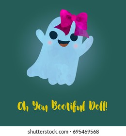 Beautiful like a doll ghost girl. Cute spook with big pink bow. Children cartoon style. Poster or postcard design. Watercolour imitation