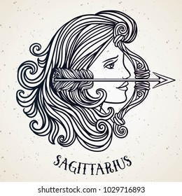 Beautiful line art filigree zodiac symbol. Black sign on vintage background. Elegant jewelry tattoo. Engraved horoscope symbol. Doodle mystic drawing with calligraphy lettering. Sagitarius