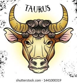 Beautiful line art filigree zodiac on vintage background.Elegant jewelry tattoo.Engraved horoscope symbol.For printing Removable Temporary Tattoo Sticker Body Art Multicolor.Taurus