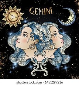 Beautiful line art filigree zodiac sign on vintage background.Elegant tattoo.Engraved horoscope symbol.For printing Removable Temporary Tattoo Sticker Body Art Multicolor.Gemini