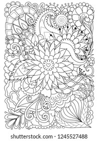Beautiful line art of flowers and leaves for background and coloring book, coloring page for anti stress. Vector illustration