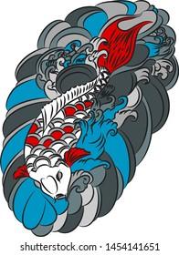 Beautiful line art Koi carp tattoo design ,colorful koi fish and flower. Idea for tattoo and coloring books.
