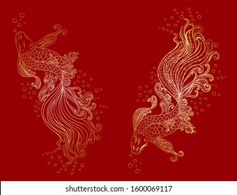 Beautiful line art of siam betta fish wiand lotus for doodle art design.Siam betta fish vector illustration for tattoo style.Hand drawn betta fish for printing on background.gold line art for rich.