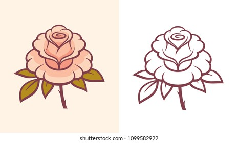 Beautiful linear rose flower illustration. Monochrome and colorful vector art for tattoo or logo.