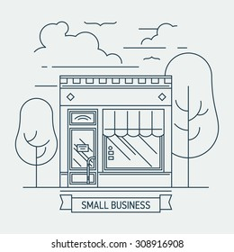 Beautiful linear small shop mini market store facade illustration. Thin line web banner template or graphic design element on small business entrepreneurship