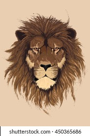 Beautiful lion artwork. Detailed.African predator.