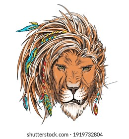 Beautiful lion head in boho style . Illustration in a hand-drawn style. Wild animal with pigtails and feathers. Stylish image for printing on any surface
