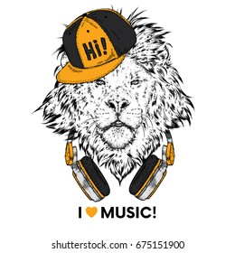 A beautiful lion wearing headphones. Vector illustration for a postcard or a poster, print for clothes. I love music.