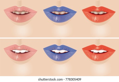 Beautiful lips, mouth, smile. Teeth whitening before and after. Vector illustration.