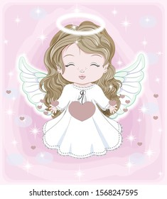 beautiful little baby angel, in white dress with hearts. Picture in hand drawing cartoon cute style, for Christmas and New year. Valentines day. Holiday Greeting card. postcard. party invitation.