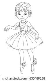 Beautiful Little Ballerina Coloring Book Stock Vector 633489158 ...
