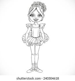 Beautiful little ballerina girl in tiara with hearts outlined isolated on a white background