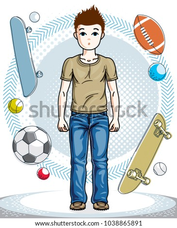 Beautiful little boy cute child standing wearing casual clothes. Vector  attractive kid illustration. Fashion 2b255b0395e44