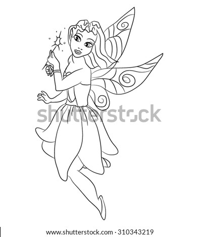 Beautiful Little Fairy Coloring Page Kids Stock Vector (Royalty Free ...