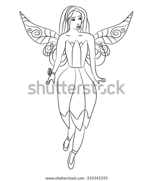 Beautiful Little Fairy Coloring Page Kids Stock Vector (Royalty ...